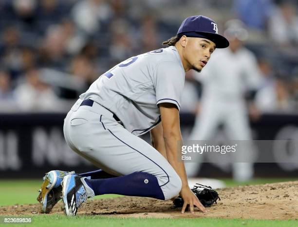 Chris Archer of the Tampa Bay Rays watches a play in the sixth inning against the New York Yankees on July 27 2017 at Yankee Stadium in the Bronx...