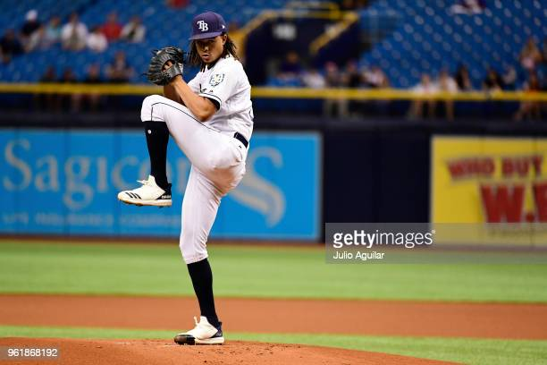 Chris Archer of the Tampa Bay Rays winds up his first pitch in the first inning against the Boston Red Sox on May 23 2018 at Tropicana Field in St...