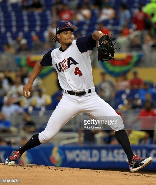 Chris Archer of the United States pitches during a Pool C game of the 2017 World Baseball Classic against Comubia at Miami Marlins Stadium on March...