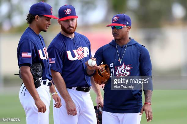 Chris Archer speaks with Sam Dyson and Marcus Storman during the workout day for Team USA for Pool C of the 2017 World Baseball Classic on Tuesday...