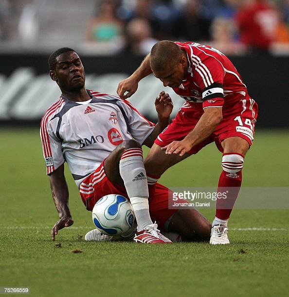 Chris Armas of the Chicago Fire battles for the ball with Maurice Edu of Toronto FC on July 7 2007 at Toyota Park in Bridgeview Illinois