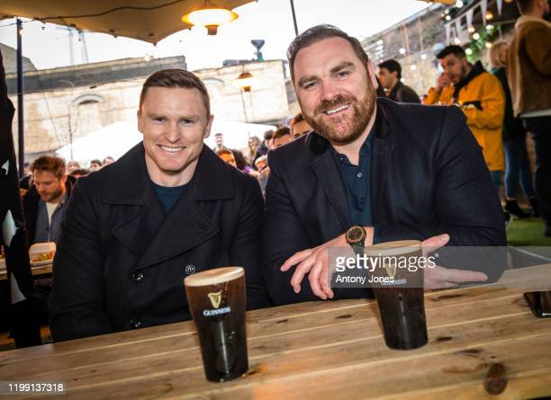 Chris Ashton and Andy Goode with rugby fans at a packed out Flat Iron Square in London to watch the hotly anticipated GUINNESS Six Nations...