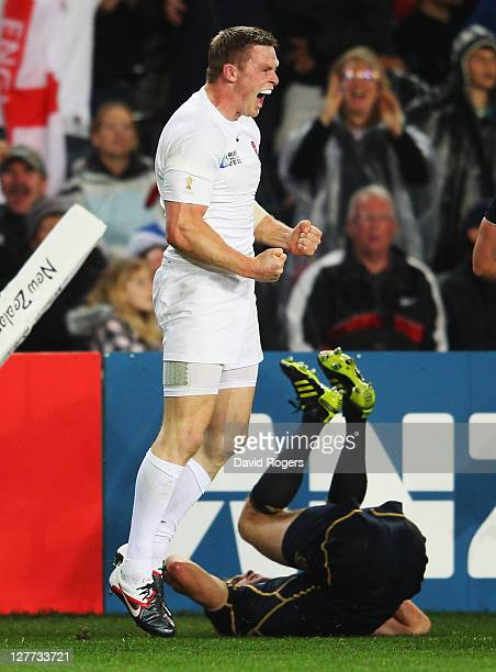 Chris Ashton of England celebrates his try during the IRB 2011 Rugby World Cup Pool B match between England and Scotland at Eden Park on October 1,...