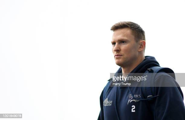 Chris Ashton of Sale Sharks arrives prior to kick off during the Gallagher Premiership Rugby match between Exeter Chiefs and Sale Sharks at on...