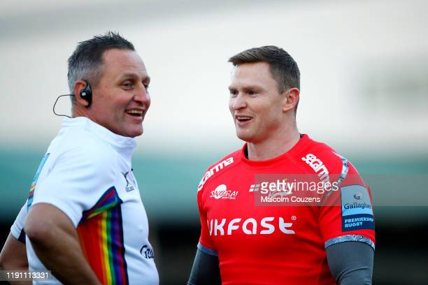 Chris Ashton of Sale Sharks chats to official Philip Watters during the Gallagher Premiership Rugby match between Worcester Warriors and Sale Sharks...