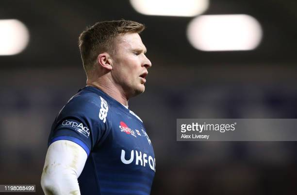 Chris Ashton of Sale Sharks looks on during the Gallagher Premiership Rugby match between Sale Sharks and Harlequins at AJ Bell Stadium on January 03...