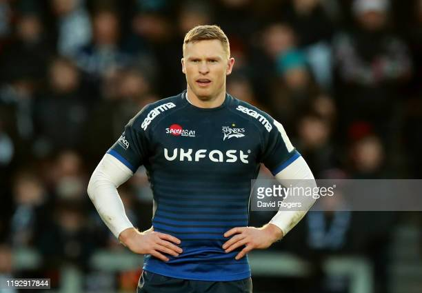 Chris Ashton of Sale Sharks looks on during the Heineken Champions Cup Round 3 match between Sale Sharks and Exeter Chiefs at AJ Bell Stadium on...