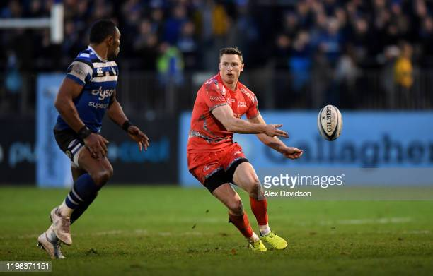 Chris Ashton of Sale Sharks passes during the Gallagher Premiership Rugby match between Bath Rugby and Sale Sharks at the Recreation Ground on...