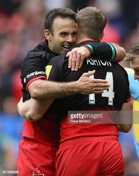 Chris Ashton of Saracens celebrates his 2nd try with Neil De Kock during the Aviva Premiership between Saracens and Harlequins at Wembley Stadium on...