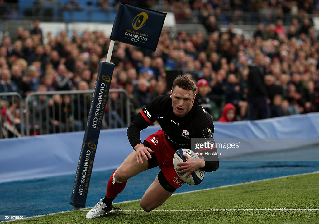 Chris Ashton of Saracens scores his team's second try of the game during the European Rugby Champions Cup match between Saracens and Oyonnax at Allianz Park on December 19, 2015 in Barnet, England.