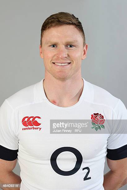 Chris Ashton poses for a portrait during the England Six Nations Squad Photo Call at the Penny Hill Hotel on January 20 2014 in Bagshot England