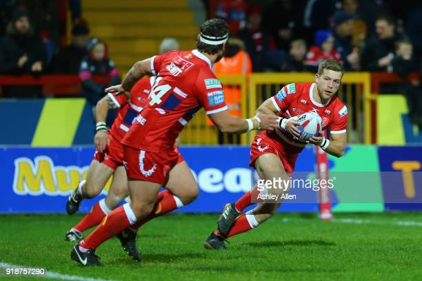 Chris Atkin of Hull KR gathers the ball during the BetFred Super League match between Hull KR and Catalans Dragons at KCOM Craven Park on February 15...