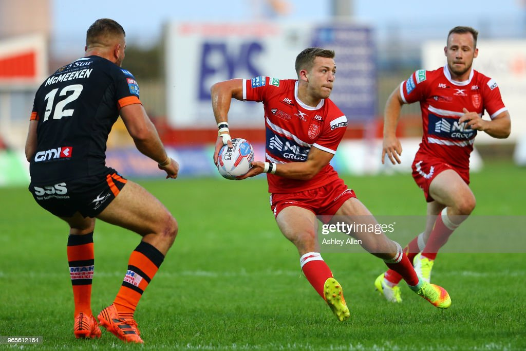 Chris Atkin of Hull KR in action during the Roger Millward Trophy match between Hull KR and Castleford Tigers as part of the Betfred Super League at KCOM Stadium on June 1, 2018 in Hull, England.