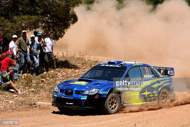 Chris Atkinson and Glenn Macneall of Australia drive their Subaru Impreza WRC 2006 A/8 during the second leg of the BP Ultimate Acropolis Rally of...
