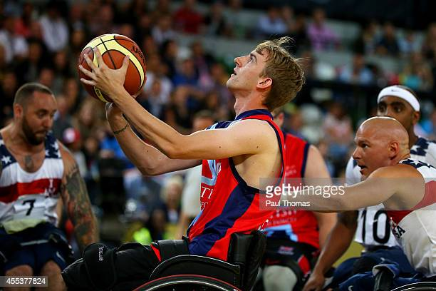 Chris Attis of Great Britain looks to shoot during the Wheelchair Basketball Gold Medal match beyween the United States and Great Britain at the...
