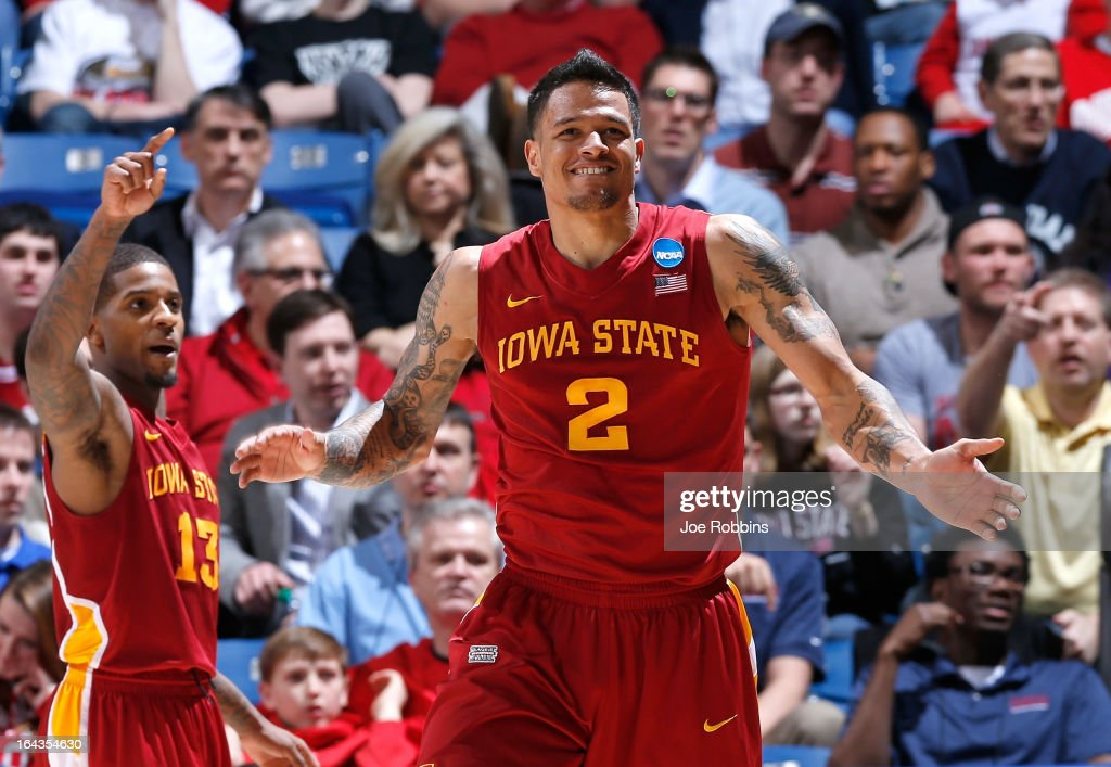 Chris Babb #2 and Korie Lucious #13 of the Iowa State Cyclones celebrate after a play in the second half while leading the Notre Dame Fighting Irish during the second round of the 2013 NCAA Men's Basketball Tournament at UD Arena on March 22, 2013 in Dayton, Ohio.