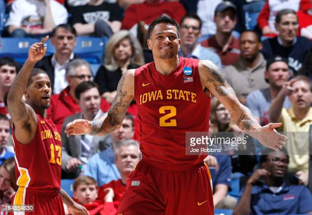 Chris Babb and Korie Lucious of the Iowa State Cyclones celebrate after a play in the second half while leading the Notre Dame Fighting Irish during...