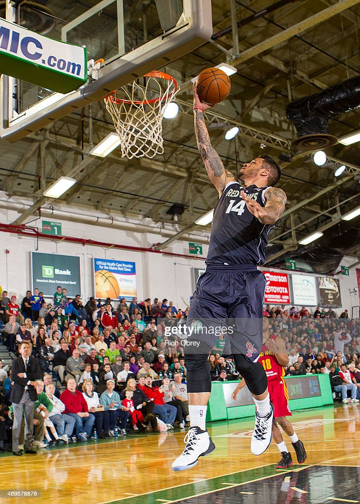 Chris Babb #14 of the Maine Red Claws goes to the hoop against the Fort Wayne Mad Ants during Playoff Game #2 on April 11, 2015 at the Portland Expo.