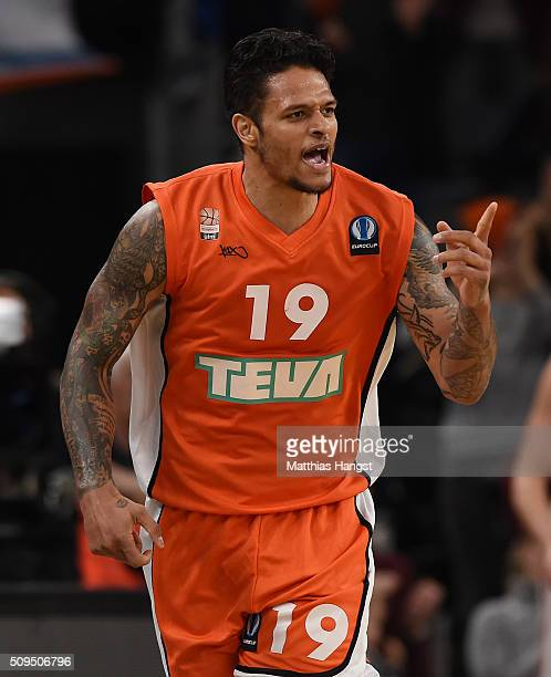 Chris Babb of Ulm celebrates during the Eurocup Basketball match between ratiopharm Ulm and FC Bayern Muenchen at ratiopharm Arena on February 10...