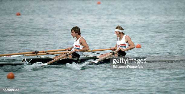 Chris Baillieu and Michael Hart of Great Britain en route to winning the silver medal in the double sculls event during the Summer Olympic Games in...