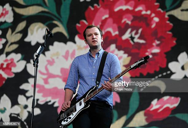 Chris Baio of Vampire Weekend performs on Day 1 of the Reading Festival at Richfield Avenue on August 22 2014 in Reading England