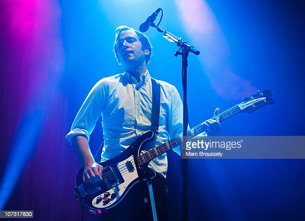 Chris Baio of Vampire Weekend performs on stage at Alexandra Palace on December 3 2010 in London England