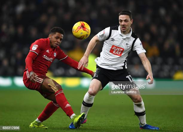 Chris Baird of Derby County battles with Kedeem Harris of Cardiff City during the Sky Bet Championship match between Derby County and Cardiff City at...