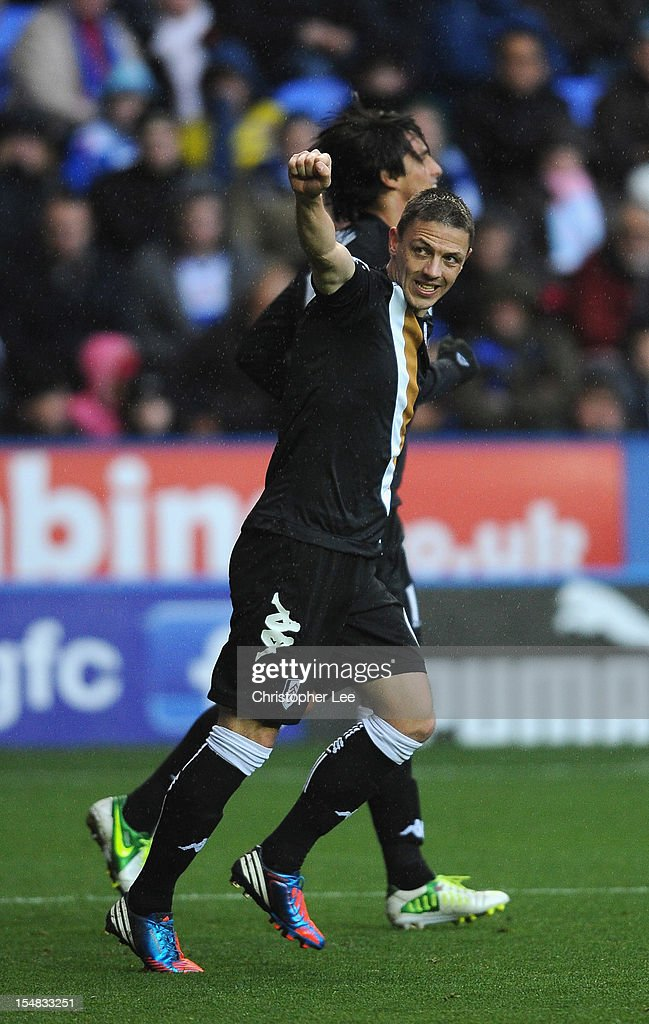 Chris Baird of Fulham celebrates scoring their second goal during the Barclays Premier League match between Reading and Fulham at Madejski Stadium on October 27, 2012 in Reading, England.