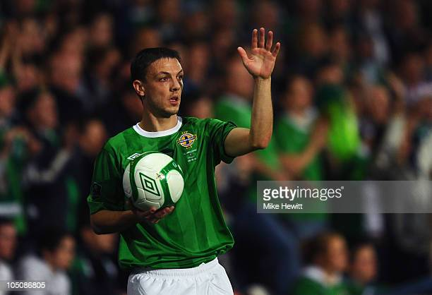 Chris Baird of Northern Ireland in action during the EURO 2012 Qualifier Group C match between Northern Ireland and Italy at Windsor Park on October...