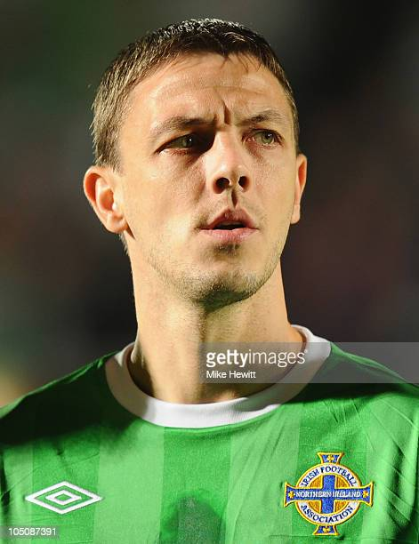 Chris Baird of Northern Ireland lines up for the National Anthems prior to the EURO 2012 Qualifier Group C match between Northern Ireland and Italy...