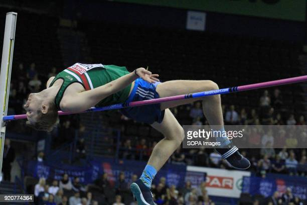 Chris Baker competes during the Men's high jump at the British Indoor Championships in Birmingham