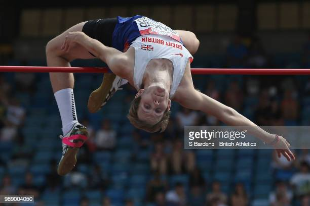 Chris Baker of Great Britain competes during the men's high jump final during Day Two of the Muller British Athletics Championships at the Alexander...