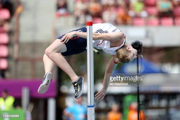 Chris Baker of Great Britain competes in The High Jump Final during day four of The European Athletics U23 Championships 2013 on July 14 2013 in...