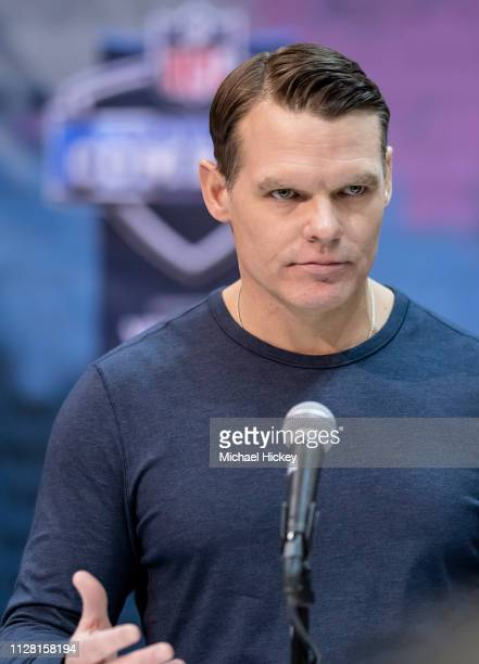 Chris Ballard general manager of the Indianapolis Colts is seen at the 2019 NFL Combine at Lucas Oil Stadium on February 28 2019 in Indianapolis...