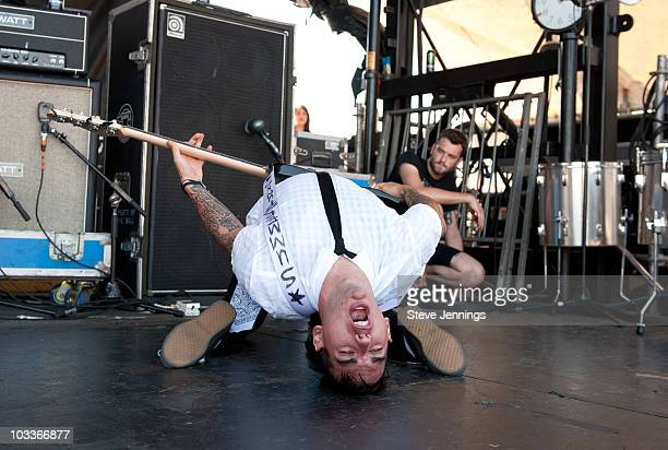 Chris Barker of AntiFlag performs at the Vans Warped Tour at Sleep Train Amphitheater on August 12 2010 in Wheatland California
