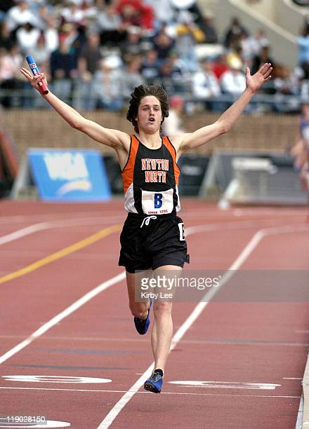 Chris Barnicle anchors Newton North High boys distance medley relay to victory in 100415 in the 111th Penn Relays at Franklin Field in Philadelphia...