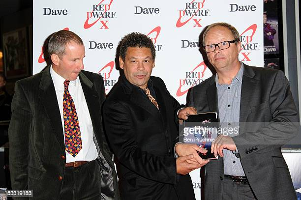 Chris Barrie Craig Charles and Robert Llewellyn attends a VIP screening for the return of Red Dwarf X on October 3 2012 in London England