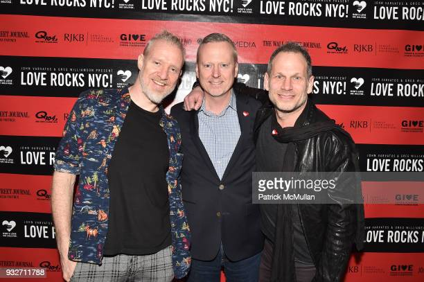Chris Barron David Ludwigson and Seth Frank attends the Love Rocks NYC PreConcert Cocktail at CESCA Restaurant on March 15 2018 in New York City