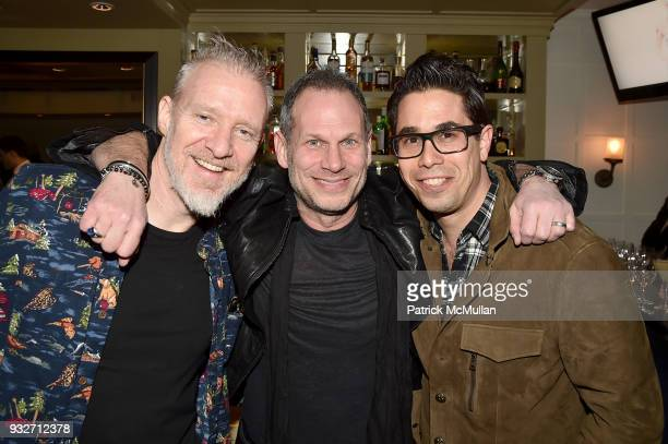 Chris Barron Seth Frank and Greg Williamson attend the Love Rocks NYC PreConcert Cocktail at CESCA Restaurant on March 15 2018 in New York City