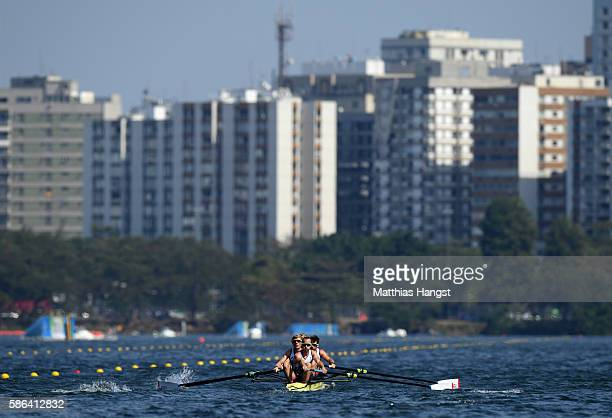 Chris Bartley Mark Aldred Jono Clegg and Peter Chambers of Great Britain compete during the LWT Men's Four Heat 2 on Day 1 of the Rio 2016 Olympic...