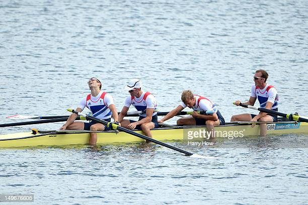 Chris Bartley Richard Chambers Rob Williams and Peter Chambers of Great Britain react after winning silver in the Lightweight Men's Four final on Day...
