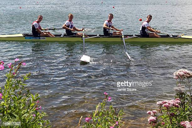 Chris Bartley Richard Chambers Rob Williams and Peter Chambers of Great Britain celebrate in their boat with their silver medals for the Lightweight...