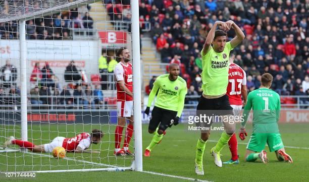 Chris Basham of Sheffield United celebrates scoring a goal during the Sky Bet Championship match between Rotherham United v Sheffield United at The...