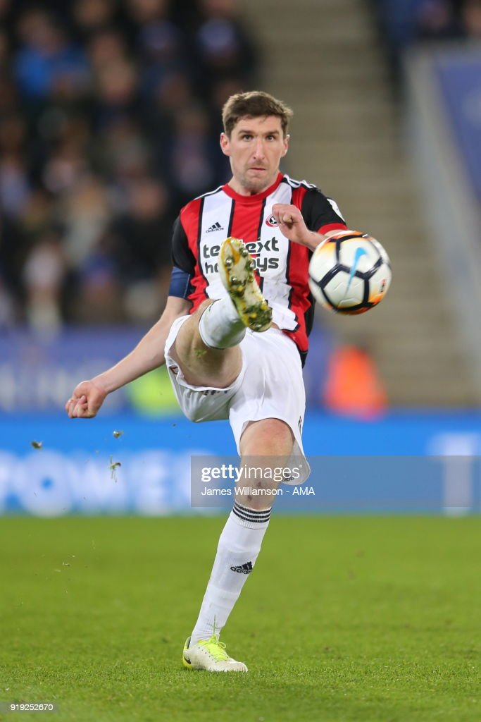 Chris Basham of Sheffield United during the Emirates FA Cup Fifth Round match between Leicester City and Sheffield United at The King Power Stadium on February 16, 2018 in Leicester, England.