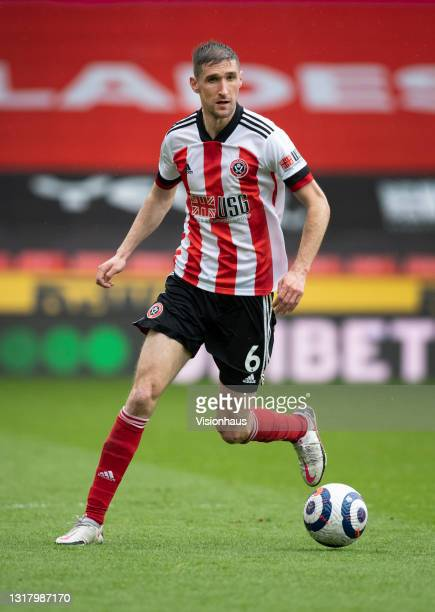 Chris Basham of Sheffield United in action during the Premier League match between Sheffield United and Crystal Palace at Bramall Lane on May 8, 2021...