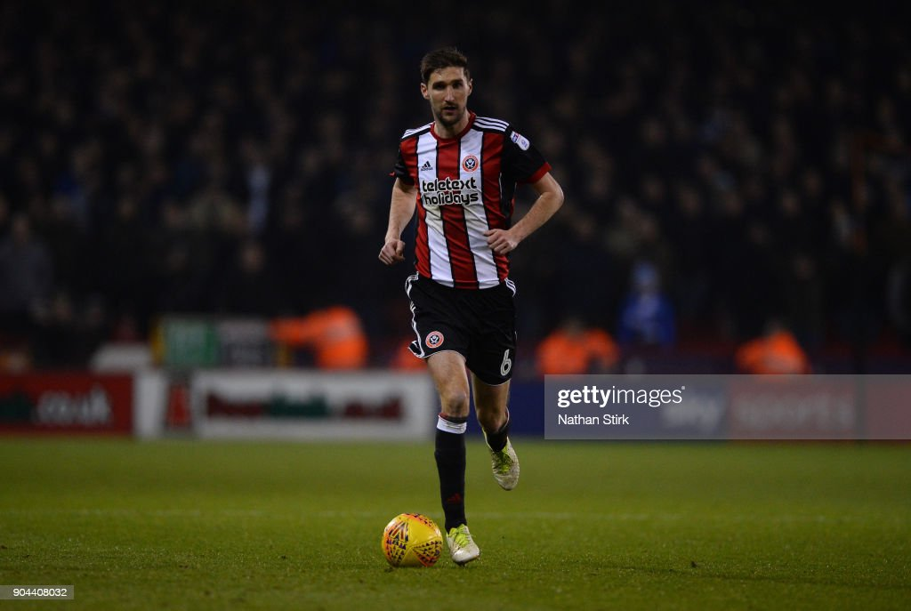 Chris Basham of Sheffield United in action during the Sky Bet Championship match between Sheffield United and Sheffield Wednesday at Bramall Lane on January 12, 2018 in Sheffield, England.