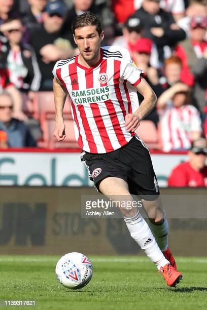 Chris Basham of Sheffield United runs with the ball during the Sky Bet Championship match between Sheffield United and Bristol City at Bramall Lane...