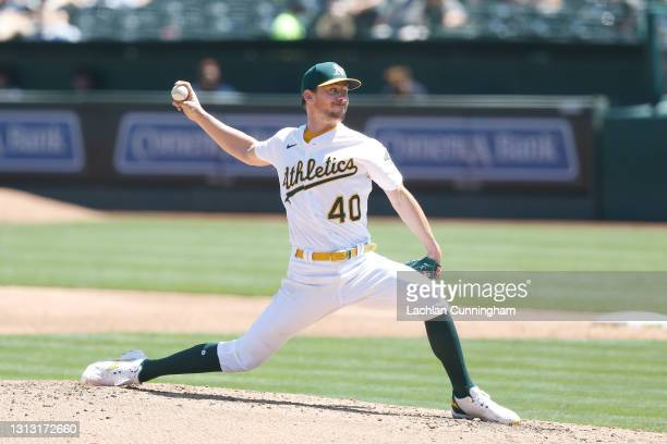 Chris Bassitt of the Oakland Athletics pitches in the top of the third inning against the Detroit Tigers at RingCentral Coliseum on April 18, 2021 in...