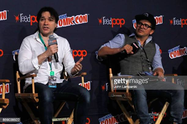 Chris Batista and John Leguizamo speak onstage during the FREAK The Comic Book panel at the 2017 New York Comic Con Day 4 on October 8 2017 in New...
