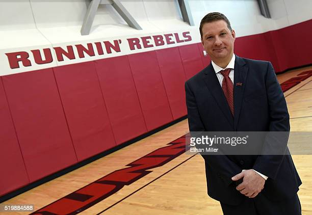 Chris Beard poses after being introduced as UNLV's new head basketball coach during a news conference at the Mendenhall Center at UNLV on April 8...